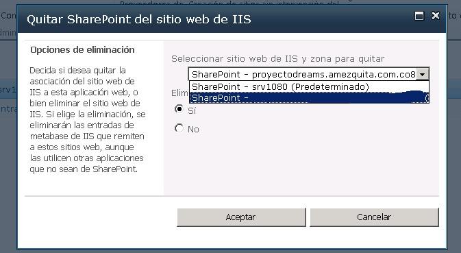 Borrar un Web Application Extendido | Letras y Números